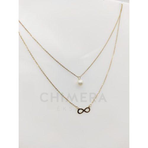Arany dupla soros nyaklánc gyönggyel és végtelennel