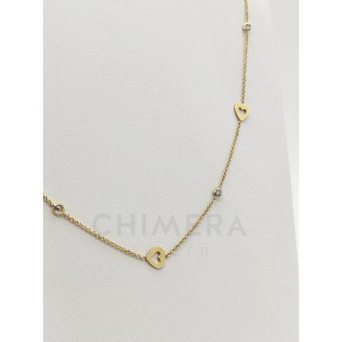 Arany nyaklánc szív mintával